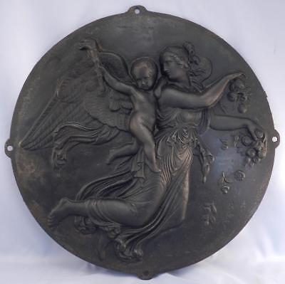 Antique Victorian Cast Iron Fireback~Cover~Angels~Putti~Architectural Salvage