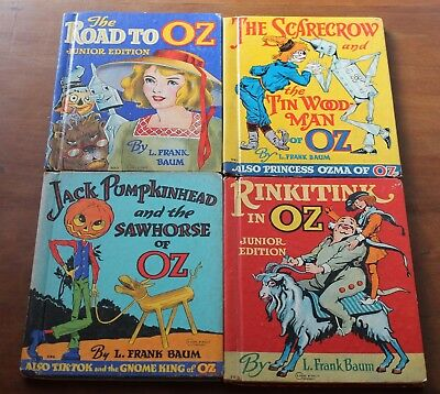 Lot of 4 WIZARD OF OZ Picture Books JUNIOR EDITION Antique Vintage Collectible