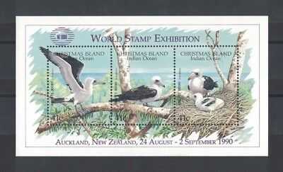 1990 Christmas Island Birds SG MS 310 New Zealand overprint muh