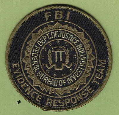 Fbi Evidence Response Team  Department Of Justice Police  Patch Round (Subdued)