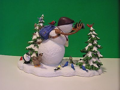 LENOX THE BIRDWATCHER Snowman with Birds sculpture NEW in BOX /COA Lynn Bywaters