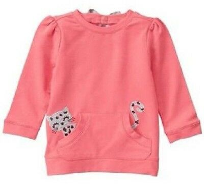Gymboree Kitty in Pink 18-24 Coral Sweatshirt With Kitten in Pocket Back Bow NWT