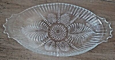 Antique Depression Clear Glass Oval Relish Bowl Handles Feather Hobnail Pressed