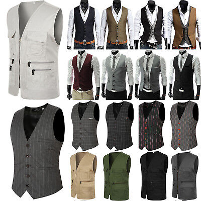 Men's Formal Business Work Casual Dress Vest Suit Tuxedo Slim Fit Waistcoat Coat