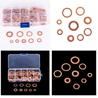 200Pcs M5-M14 Cuivre Rondelle Plate Joint Gasket Assortiment 0-ring Set