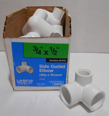 Lot of 12 LASCO 3/4-in x 1/2-in Dia 90-Degree PVC Sch 40 Side Outlet Elbow