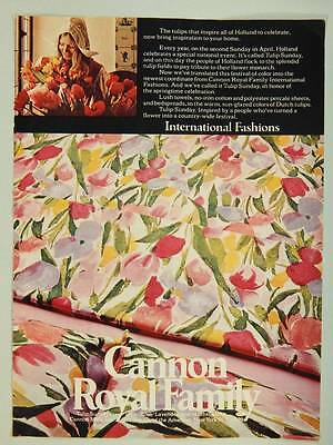 1973 Cannon Royal Family Sheets & Bedspreads - Vintage Ad Page - Tulip Sunday