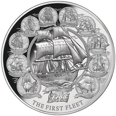Niue 5 Dollar 2018 The First Fleet 2 Oz Silber Polierte Platte PP High Relief