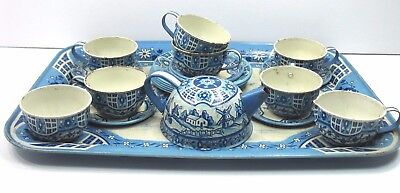 Vintage Wolverine Tea Set Tin Litho Delft Blue 22 Pieces