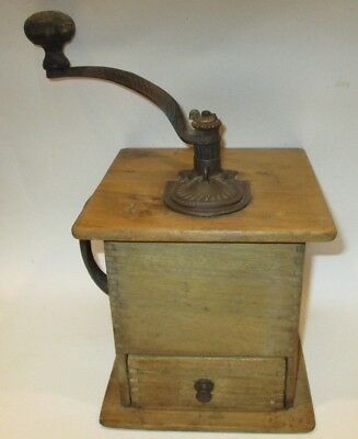 Vintage Antique Primitive Wood Wooden Coffee Grinder Mill With Drawer