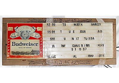 Vintage Budweiser Beer Sign Lighted Message Board Electric Display Clydesdale