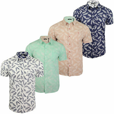 Mens Hawaiian Leaf Print Shirt by Brave Soul 'Antonio' Short Sleeved
