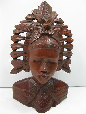"""Vintage Indonesian Carved Wood Figure Woman In Headdress Native Bali 7 7/8"""" Tall"""