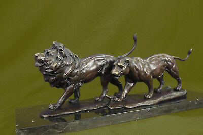 Close Out Pure Bronze Majestic African Savannah Pride Lion Scene Figurine Art