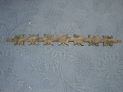 Antique Bowed Wooden  Architectural Fragment in old Green Paint, 15 Inch