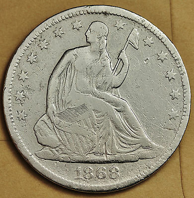 1868-s  Seated Liberty Half.  Fine Detail.  92033