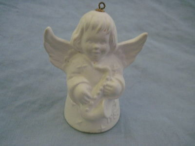 1980 Goebel ANGEL BELL ORNAMENT White Bisque With Saxophone