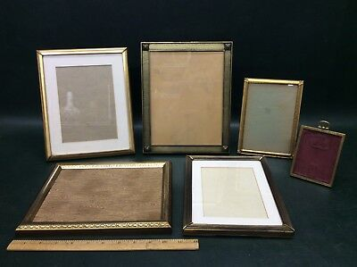 Lot of 6 Vintage Art Deco Brass Photo Picture Frames