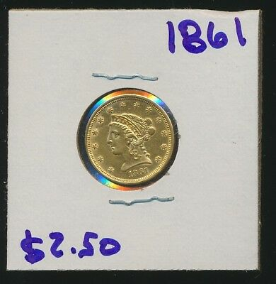 Liberty $2.50 Early Date - 1861 - Lowest Listed On Ebay !