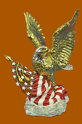 Close Out American Freedom Bad Eagle Hot Cast 24K Gold Plates Museum Bronze Sale