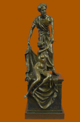 Close Out Bronze of Arab Man Holding Naked Female Slave Bronze Statue Hand Made