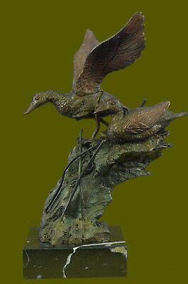 Close Out Collectible Bronze Deco Animal Duck Family Audubon Marsh Backyard BD