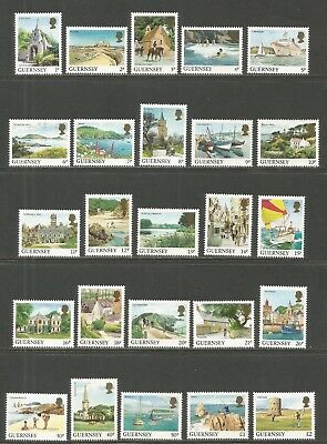 Guernsey 1984-91 Landscapes defs--Attractive Topical (283-302/372-74/453-54) MNH
