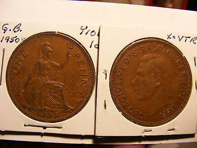 Great Britain 1950 One Penny, VF/VF+, Mintage just 240K