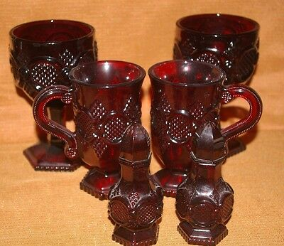 LOT OF 6 VINTAGE Avon CAPE COD Ruby Red Salt Pepper 2 Mugs 2 Large Goblets