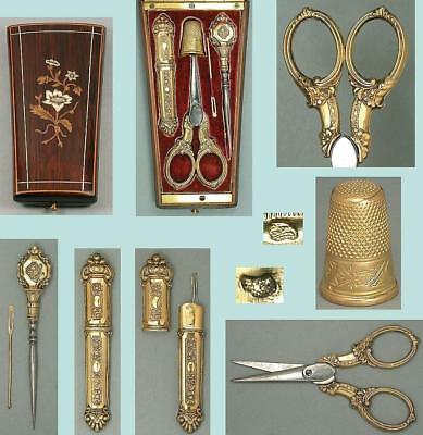 Lovely Antique Gilded Silver & Gold Sewing Tool Set * French * Circa 1850