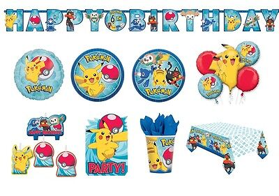POKEMON Birthday Party Range - Tableware Balloons & Decorations {Amscan}NEW(1C)