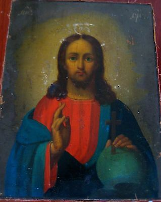 Antique Russian Christian Orthodox Icon Jesus Christ 19Th Century