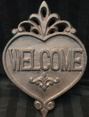 """Heart Shaped Cast Iron Rust Welcome Plaque Sign Wall Hanging New 7.5"""" X 5.5"""""""
