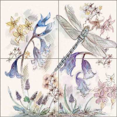 Floral Art Tile Backsplash Ceramic Mural Louise Dragonfly Flower Art POV-CH001