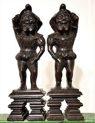 Pair Corbel Bracket Antique French Hand Carved Wood Jester Architectural Salvage