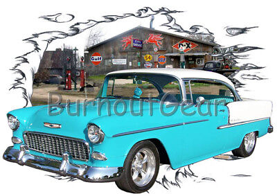 1955 Blue Chevy Pickup Truck c Custom Hot Rod Diner T-Shirt 55 Muscle Car Tees