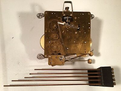 Antique / Vintage FRANZ HERMLE eight Day Clock Movement with five brass rods