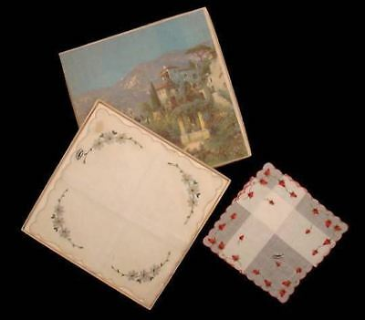 Vintage Hankies New in BOX  Embroidered Hankies Switzerland 1940S