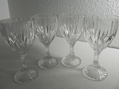 """Mikasa Crystal PARK LANE Four (4) Water Goblets 6-3/4"""" Discontinued EXCELLENT!"""