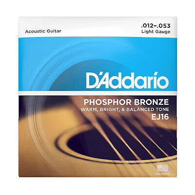 D'Addario EJ16 Phosphor Bronze Light Acoustic Guitar Strings .012-.053