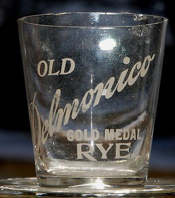Old Delmonico Gold Medal Rye Pre-Pro Etched Whiskey Shot Glass