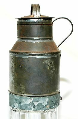 Antique Civil War Era Soldered Tin Soup Or Milk Can With Handle & Tin Lid