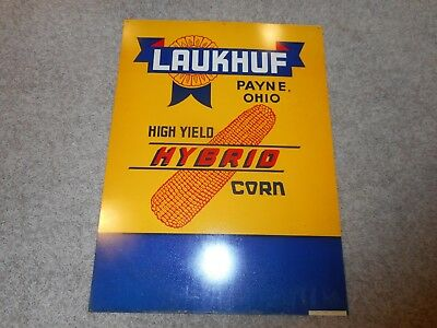 RARE 2-Sided Laukhuf Hybrid Seed Corn Dealer Sign OH NOS Advertising Scioto SIGN