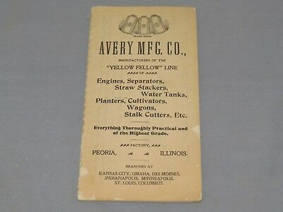 Vintage AVERY Mfg Co Steam Engine Thresher advertising Pocket Book Brochure 1900