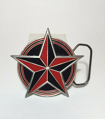 Belt Buckle Great American Products Fine Pewter Red & Black Nautical Star