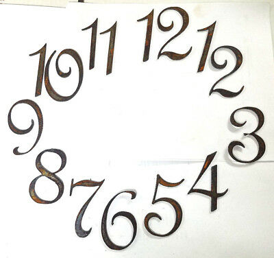 """3"""" Fancy French Style Numbers 1-12 Rough Rusty Metal Vintage Clock Set Craft DIY"""
