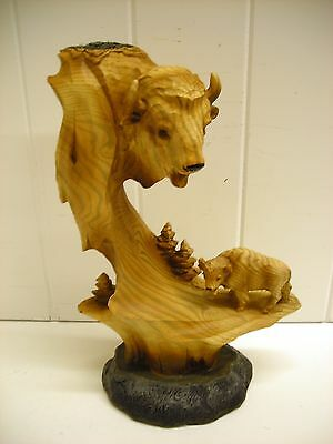 Mmd-159 Buffalo Bust Carved Scene Statue Decoration Figurine Unison Wood Look