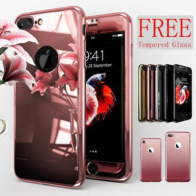 360 Degree Full Hybrid Tempered Glass Acrylic Mirror Case Cover For iPhone X 8 7