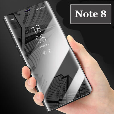 For Samsung Galaxy S9 Plus Note8 Clear View Mirror Leather Stand Flip Cover Case