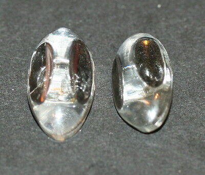Matched Set Of 2 Vintage Clear Oval Hasp Buttons 1 1/8""